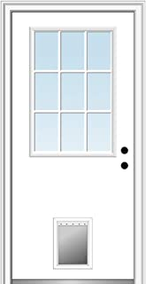 National Door Company ZZ00762L Steel Primed, Left Hand in-Swing, Prehung Front Door, 9 Lite with Pet Door, Clear Glass, 32