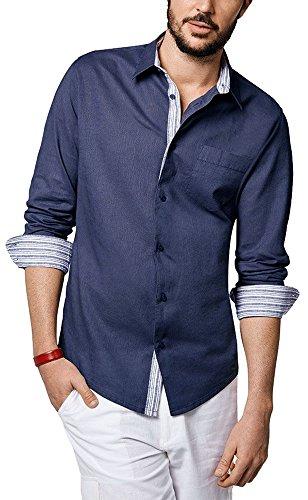 Livergy® Herren Leinenhemd Sommerhemd, Langarm (dunkelblau Denim, Gr. XXL - 45/46)