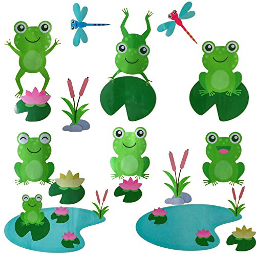Frosch Teich Wandaufkleber - Lotus Libelle zum Kinder Zimmer oder Kindergarten Dekoration Jugendzimmer Wohnzimmer Wand Aufkleber, Frosch Lotus blatt schön cute Wandbild selbstklebend (65x27cm)