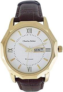 Charles Delon Mens Quartz Watch, Analog Display and Leather Strap 5716 GGWN