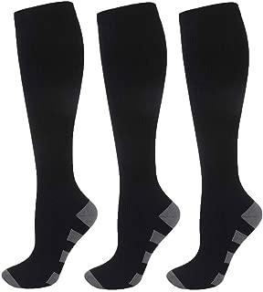3 Pairs Compression Socks Women & Men Best Athletic for Running, Nurses, Travel