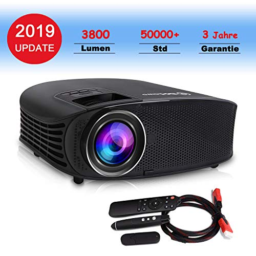 HD Beamer, DHAWS 3800LM 1080P HDMI Video Projektor für Heimkino und Geschäft PowerPoint Präsentation , mit PPT Clicker (Black)