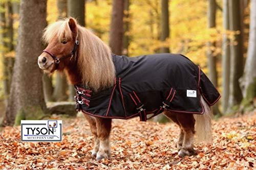Tysons Breeches Regendecke High Neck Minishetty Mini Shetty Falabella 600 D Schwarz Rot 60 70 80 90 100 cm (60 cm)