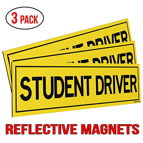 Classic Biker Gear Reflective Student Driver Magnets for Car – Set of 3