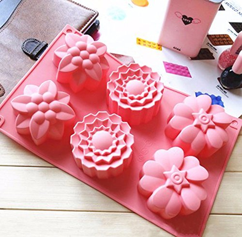 6 Cavity Silicone Flower Soap Mold Chrysanthemum Sunflower Three Mixed Flower Shapes Cupcake Backing Mold Muffin pan Handmade soap Silicone Moulds ~ Cafolo