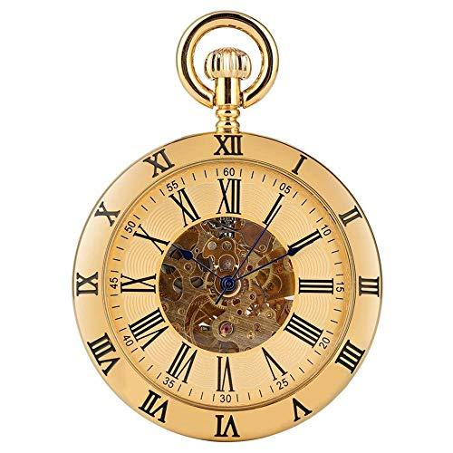 Yxxc Reloj de Bolsillo Oro/Plata Números Romanos Pantalla Cara Abierta Mecánico Reloj de Bolsillo con Cuerda automática Retro Hombres Mujeres Reloj Colgante de Bolsillo (Color: Dorado)
