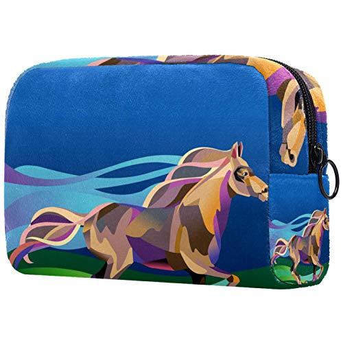 Bolso cosmético portátil de las señoras, bolso de almacenamiento multifuncional,Siluetas de la palma tropical de la puesta del sol