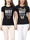 VIVAMAKE® Pack 2 Magliette Donna Originali per Migliore Amica con Design Blonde And Brunette Are Best Friends