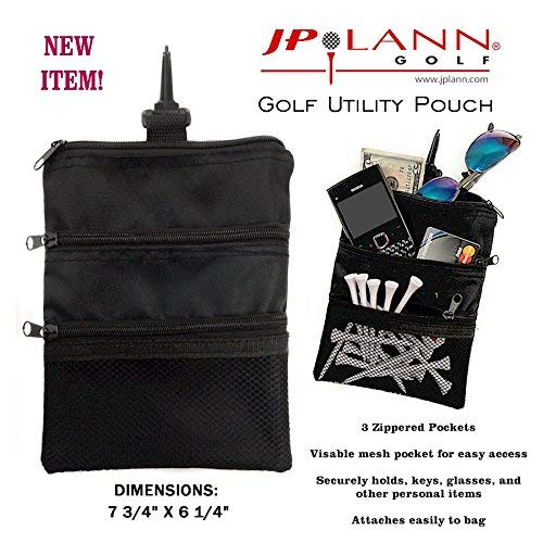 JP Lann Golf Multi-Pocket Tote Hand Bag and Valuables Pouch (Black)