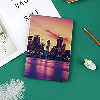 新しい ipad pro 11 2018 ケース スリムフィット シンプル 高級品質 手帳型 柔らかな内側 スタンド機能 保護ケース オートスリープ 傷つけ日没の建物で都市の近代的な都市生活オーシャンスカイラインでマイアミの眺め