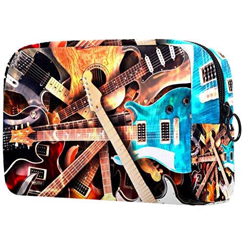 Bolsa de cosméticos para mujer, guitarras eléctricas, fondo, bolsas de maquillaje, accesorios...