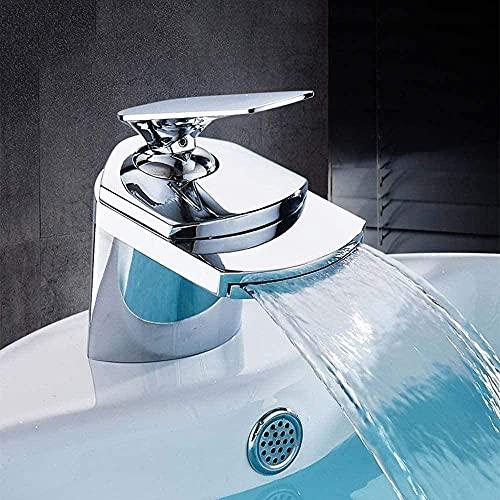 Grifo de lavabo Cascada de un solo orificio Grifo de agua fría y caliente Grifo de lavabo de baño Grifo de lavabo Grifo de uso doméstico