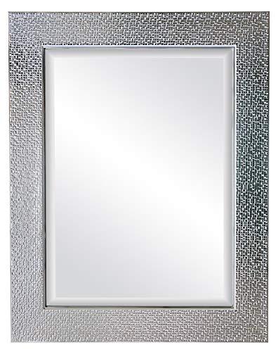 oruii Silver Decorative Wall Mirror, 22x28 inch Mosaic Framed Bathroom Mirror, Rectangular -