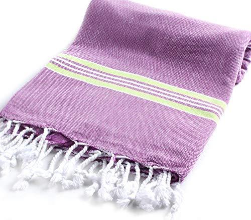 Cacala Pestemal Turkish Bath Towels Striped for Beach Sauna Luxury Peshtemal 37x70 Purple-Pistachio Green