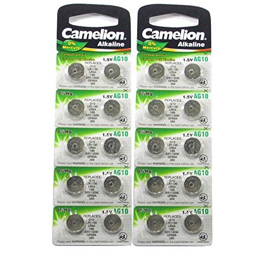 20x Camelion AG10/189/389/LR1130langlebige Knopfzelle mit 0% Quecksilber (Ablaufdatum markiert)