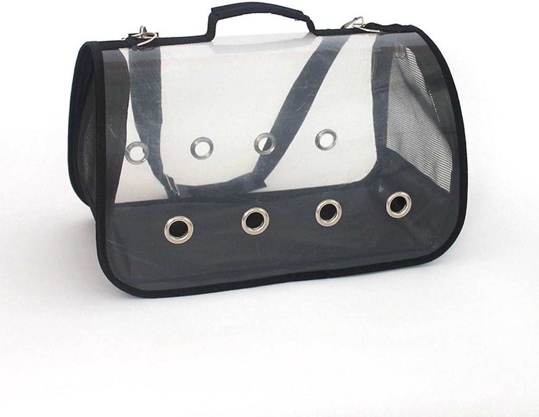 Pet Carrier Transparent, Handbag, Shoulder Package Travel Bag for Puppy Dogs Cats, Comfort Portable Soft Sided Foldable with for Plane Car Train Travel. (color   Black, Size   M(40  22  23cm))