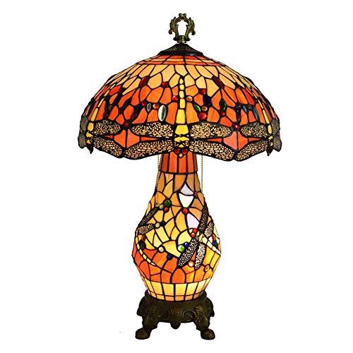 WEM Style Dragonfly Lámpara de mesita de noche Lámpara de mesa vintage, doble fuente de luz Lámpara de escritorio con pantalla de vitrales E27 Lámpara de decoración antigua de 3 luces para dormitorio