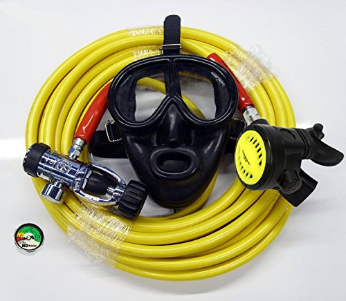 Scuba Diving Kayak Dive Kit with Regulator with Full Face Mask 50' Long Hose Gauge Hookah Diving Third Lung Commercial Boat Cleaning Scuba