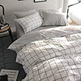 VClife Twin Duvet Cover Set Cotton Bedding Set for Boy Teen Men Girl Woman with 2 Pillow Shams Grey White Checkered Style