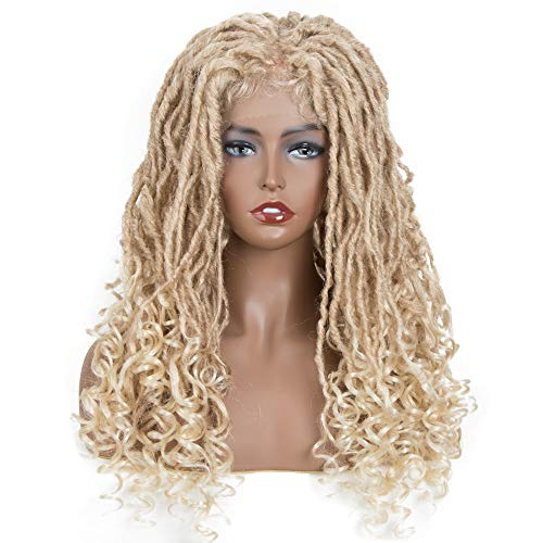 "FASHION IDOL Lace Front Goddess Locs Wigs for Black Women 24"" Full Lace Synthetic Blond Natural Wavy Faux Locs Braids Wig Blond 613"