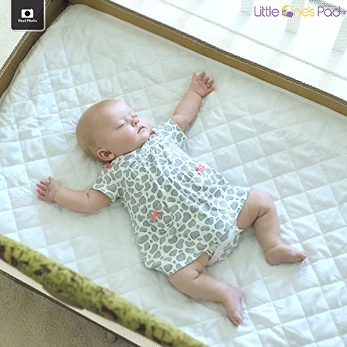 "Little One's Pad Pack N Play Crib Mattress Cover - 27"" X 39"" - Fits Most Baby Portable Cribs, Play Yards and Foldable Mattresses - Waterproof, Dryer Safe - Comfy and Soft Fitted Crib Protector"
