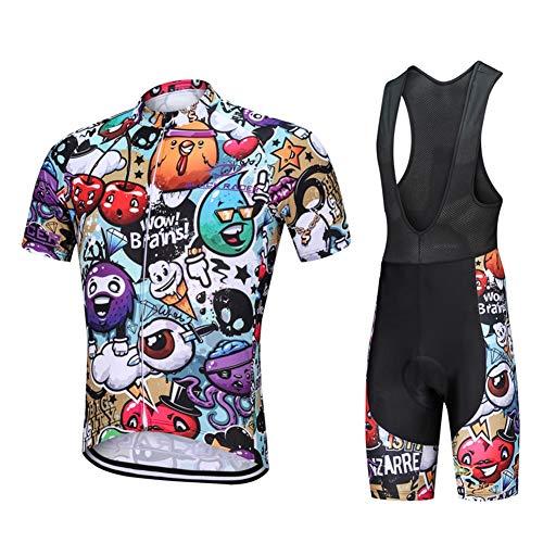GOPLAY Verano Dibujos Animados Divertido para Hombre Ciclismo Conjunto Manga Corta - Al Aire Libre Bici Camino MTB Jerseys Deporte, Bicicletas Gel Acolchado Pantalones Cortos Babero Camisa Combo,M