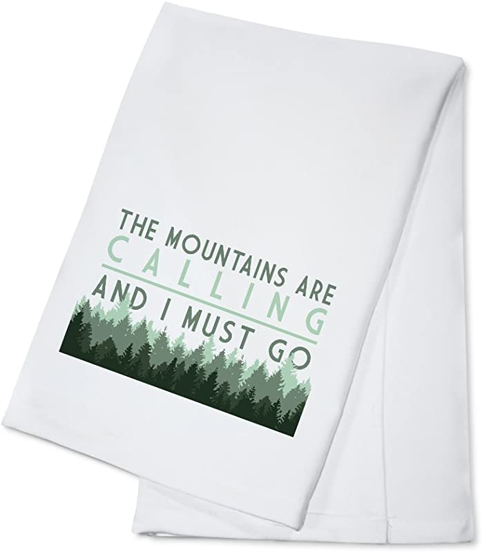 The Mountains Are Calling And I Must Go Pine Trees 100 Cotton Kitchen Towel