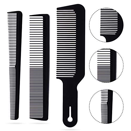 3Pcs Barber Comb Set Clipper Flattop Barber Comb Taper Combs and Heat-Resistant Fiber Cutting Comb for Men Women