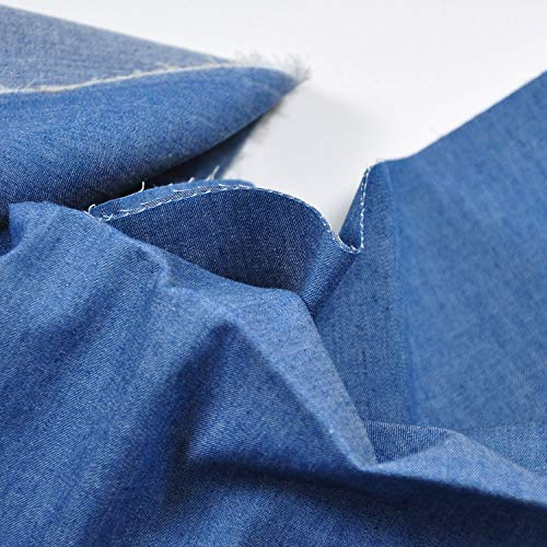 Indigo Blue 4.8 oz 100% Cotton Denim Chambray Fabric,56 Inches Wide, by The Yard