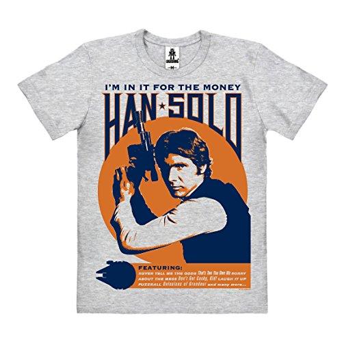 Logoshirt Star Wars - Han Solo - I'm In It For The Money Camiseta 100% algodón ecológico (Cultivo ecológico) - Gris Vigoré - Diseño Original con Licencia, Talla 3XL