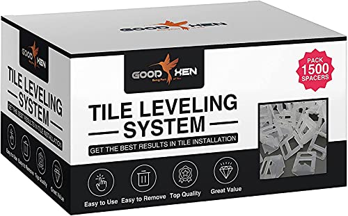 """GoodXen Tile Leveling System 1/8 Inch - 1500 PCS Tile Spacers 1/8"""" (3mm). Tile Leveling Clips 1/8"""" for Tile and Ceramic - Tile Spacers and Levelers for Tiling Installation Tools."""