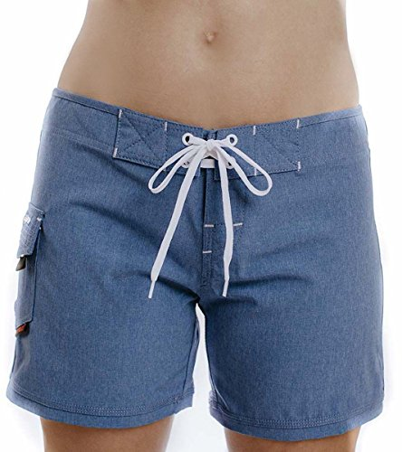 "Maui Rippers Women's 4-Way Stretch 5"" Swim Shorts Boardshorts (12, Blue Melange)"