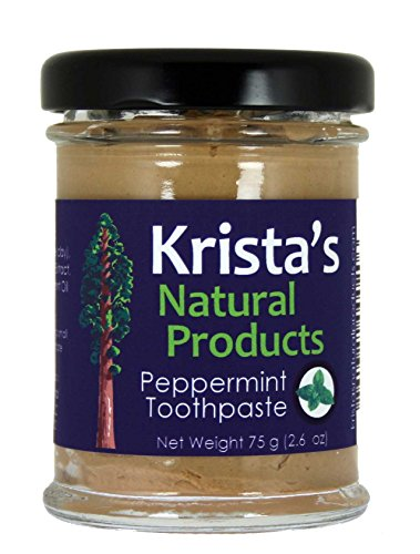 Organic Peppermint Toothpaste Made by Krista's Natural Products - 75 g (2.6 oz)