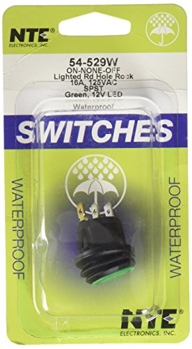 NTE Electronics 54-529W Waterproof Round Illuminated Rocker Switch, SPST Circuit, ON-None-Off Action, Nylon Green LED Actuator, 0.187