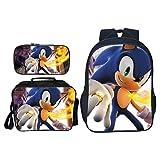 Paquete de comidas Sonic Mochila Sonic de alta calidad para niños, niñas, mochilas escolares, hermosas mochilas escolares, 3 unids/set, bolsas de moda