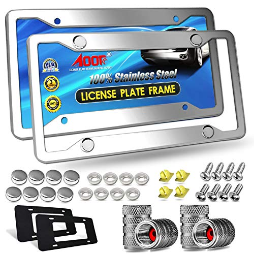Aootf Stainless Steel License Plate Frames- Heavy Duty Polish Mirror Silver Car Tag Cover with Chrome Screw Caps, 4 Hole 2 Pack Front & Rear Holders for Women/Men, Tire Valve Caps, Rattle Proof Pads