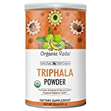 Organic Veda Triphala Powder 7 oz | USDA Certified Organic Premium Potent 100% Pure Complex of Amla, Haritaki, Bibhitaki Fruits |Raw Whole Superfood Support for Colon, Digestive & Immune System