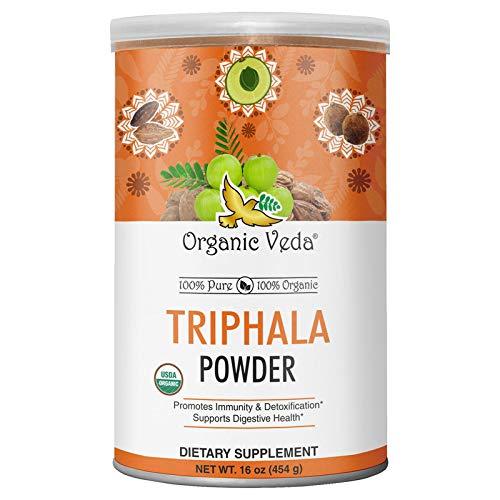Organic Veda Triphala Powder 7 oz | USDA Certified Organic Premium Potent 100% Pure Complex of Amla, Haritaki, Bibhitaki Fruits |Raw Whole Superfood Support for Colon, Digestive & Immune System