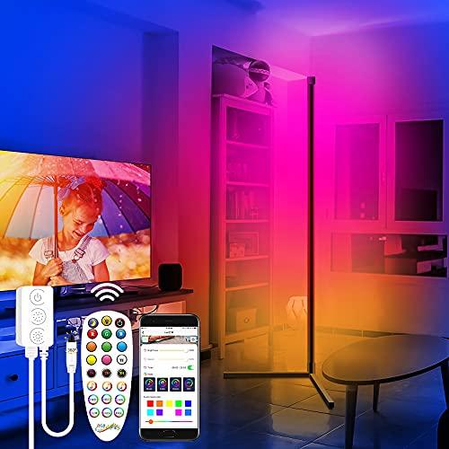 LED Stehlampe Dimmbar mit Fernbedienung, 7W USB Moderne Minimalistische RGB Farbe Stehleuchte Dekoration, App-Steuerung, Musik Sync, Dimmbar, für Spielzimmer Wohnzimmer Schlafzimmer Farbwechsel