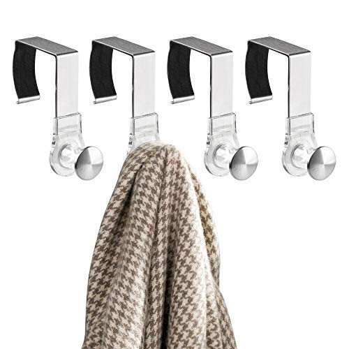 mDesign Modern Metal and Plastic Office Over The Cubicle Storage Organizer Hooks - Wall Panel Hangers for Hanging Accessories, Coats, Hats, Purses, Bags, Keychain - 4 Pack - Clear/Brushed