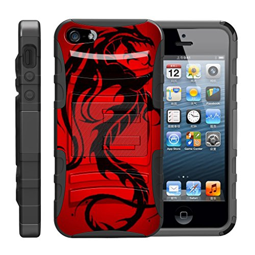 TurtleArmor | Compatible with Apple iPhone SE Case | iPhone 5/5s Case [Hyper Shock] Hybrid Dual Layer Armor Holster Belt Clip Case Kickstand - Red Dragon