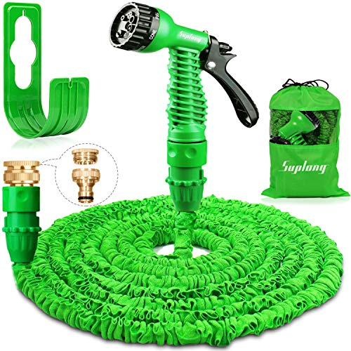 Suplong 50ft Garden Hose Expandable Water Pipe 3 Times Expanding Flexible Magic Hose Pipes With 7 Function Spray/Brass Connector Fittings/Hose Hanger/Storage Bag