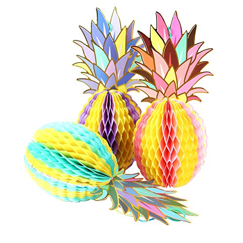 Papel Jazz piña de Papel de Panal de Miel para Mesa de Centro de Mesa Colgante decoración para Verano Hawaiano laua Tiki Playa Tropical Frutas Fiesta cumpleaños Baby Shower Festival, 3 Pineapple