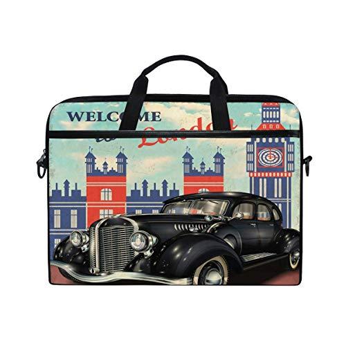 Laptop Sleeve Case,Laptop Bag,Garage Car London Water Briefcase Messenger Notebook Computer Bag with Shoulder Strap Handle,28.5×38 CM/14 Inch