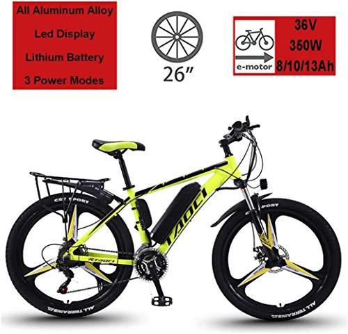"""BWJL Bicicletas eléctricas para los Adultos, en Bicicletas de aleación de magnesio Ebikes de Tierra, 26""""batería extraíble 350W 36V 13Ah Litio-Ion Ebike Montaña Hombres,Amarillo,13Ah80Km"""