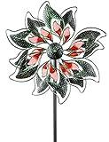 dekojohnson - Windrad für den Garten aus Metall und Acryl Windräder Windspiel Windmühle Tiffany Art grün/rot 180cm Groß