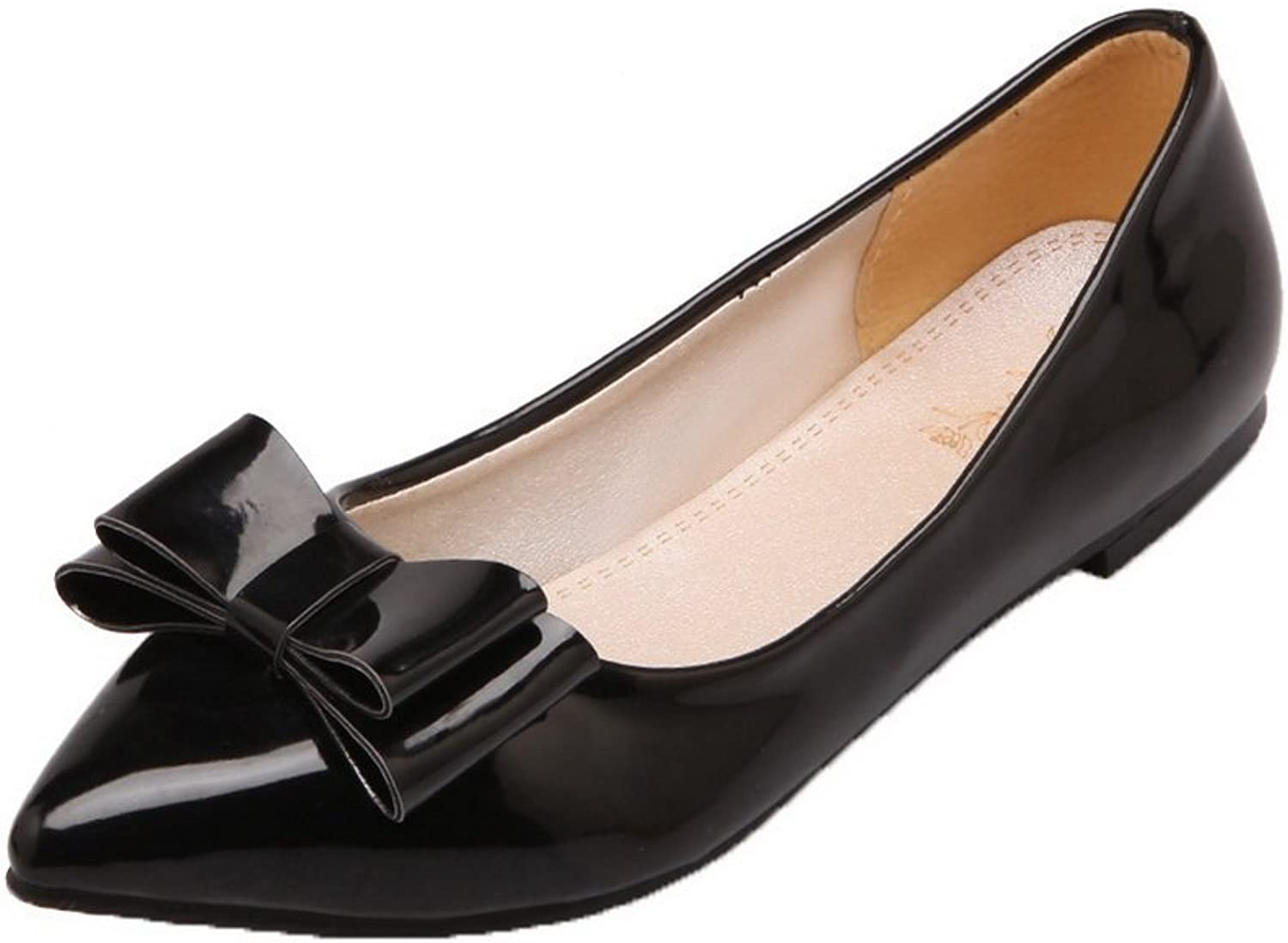 AllhqFashion Women's Patent Leather Low-Heels Closed-Toe Pull-On Pumps-shoes
