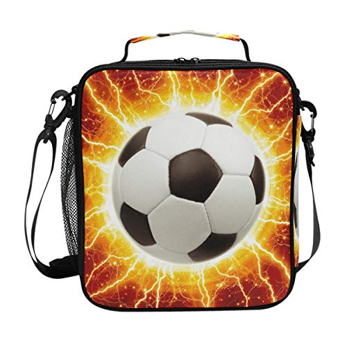 Kids Lunch Box 3D Galaxy Football Insulated Lunch Bags Large Thermos Lunch Tote Bag Cool Freezable Lunch Tote 5L with Shoulder Strap for Boys Men Girls