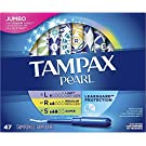 Tampax Pearl Plastic Tampons, Multipack, Light/Regular/Super Absorbency, W, Unscented, 47 Count