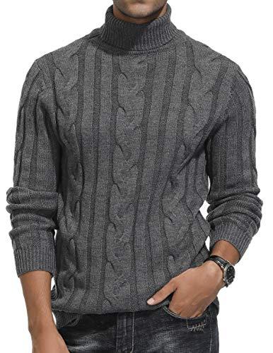 PJ PAUL JONES Men's Casual Slim Fit Pullover Sweaters Knitted Turtleneck Twisted Grey S